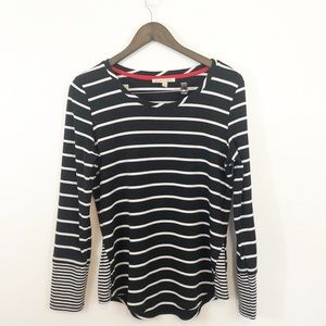 41Hawthorn Black white stripe long-sleeve top Med